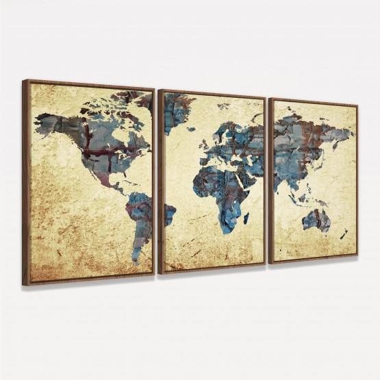 Quadro Mapa Mundi Arte Vintage Continentes