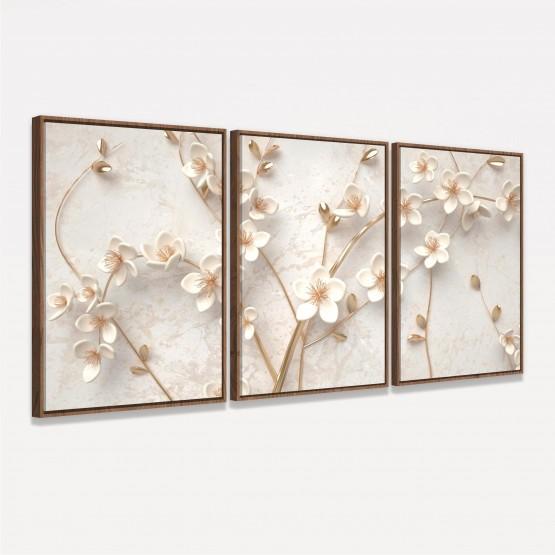 Quadro Árvore Flores Cerejeiras Branco Bege e Douradas decorativo