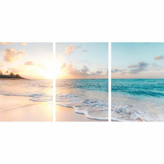 Quadro Praia Mar Paisagem Do Entardecer