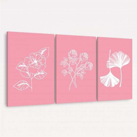 Kit de Molduras para Plantas Decorativas de Flores - Arte Floral Rosa