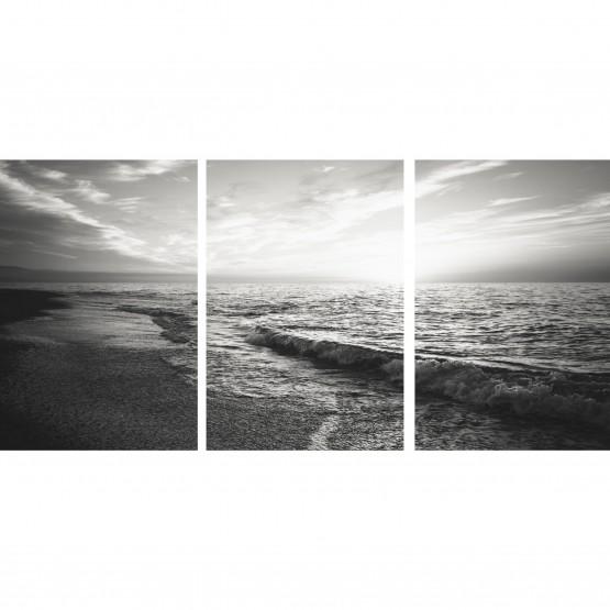 Quadro Praia Mar Ao Entardecer - Paisagem Preto e Branco