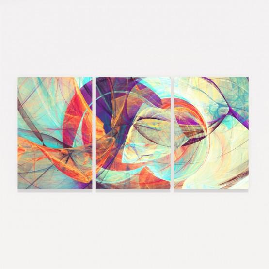 Quadro Abstrato Moderno Futurista Colorido Mosaico